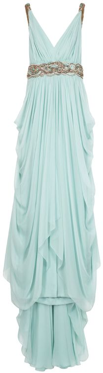 Love the dress  Marchesa Chiffon Embellished Grecian Gown in Blue (mint)