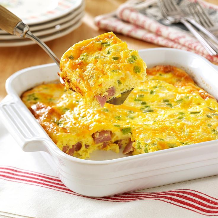 Oven Denver Omelet Recipe -I like omelets but don't always have time to stand by the stove. That's why I favor this oven-baked variety that I can quickly pop into the oven at a moment's notice. My family frequently requests this for Sunday brunch. They always empty the dish. —Ellen Bower, Taneytown, Maryland
