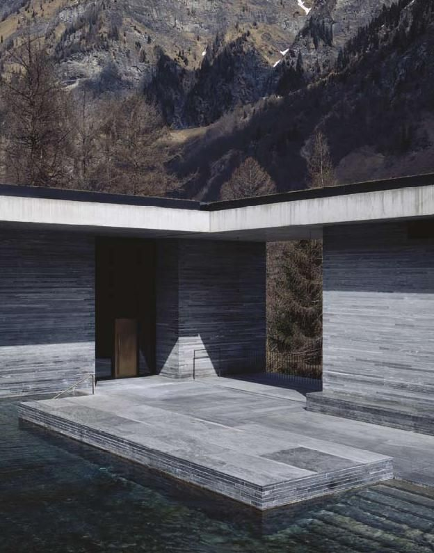 "Thermal Baths in Vals, Peter Zumthor; When notified that he had been named the 2009 laureate, responded, ""Being awarded the Pritzker Prize is a wonderful recognition of the architectural work we have done in the last 20 years. That a body of work as small as ours is recognized in the professional world makes us feel proud and should give much hope to young professionals that if they strive for quality in their work it might become visible without any special promotion."""
