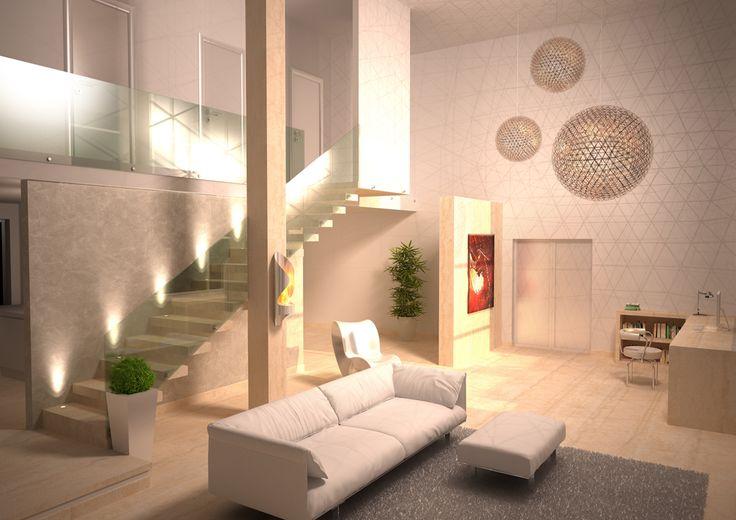 Render fotorealistico di un soggiorno