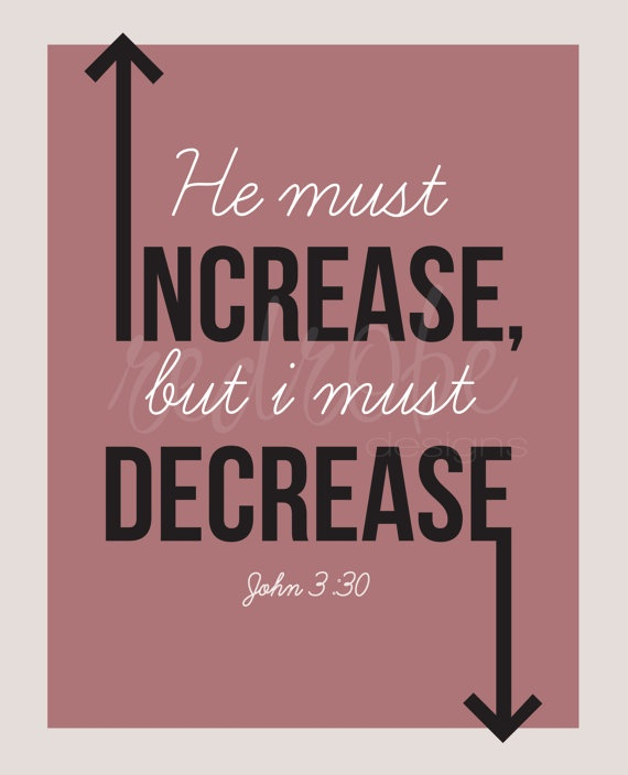 John 3:30~ Black background, white letters, with Red increase/decrease