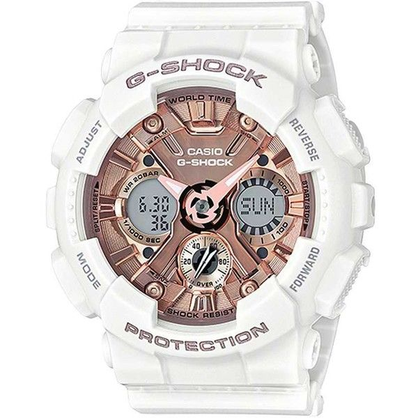 G-Shock GMAS-120 Watch - White ($130) ❤ liked on Polyvore featuring jewelry, watches, white, analog digital watches, analog wrist watch, g shock watches, white watches and analog watches