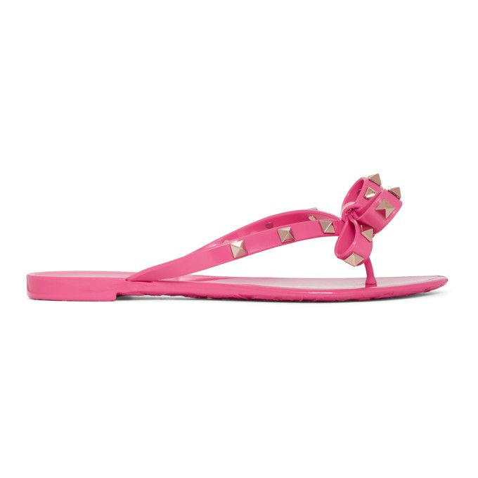 VALENTINO   Pink Valentino Garavani Rockstud Bow Sandals #Shoes #Flat sandals #VALENTINO