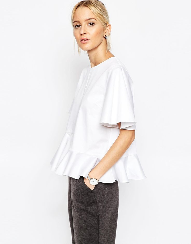 Image 1 of ASOS WHITE Stepped Peplum Top