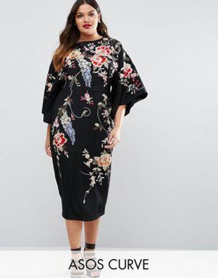 ASOS Curve | ASOS CURVE Embroidered Kimono Midi Dress