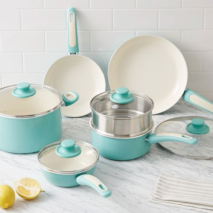 Now in a lightly colored turquoise finish, this 10-Piece Set of Greenpan® pots and pans quickly and evenly distributes heat to your food. Its nonstick coating is also an easy way to cook with fewer fats, oils and butter.