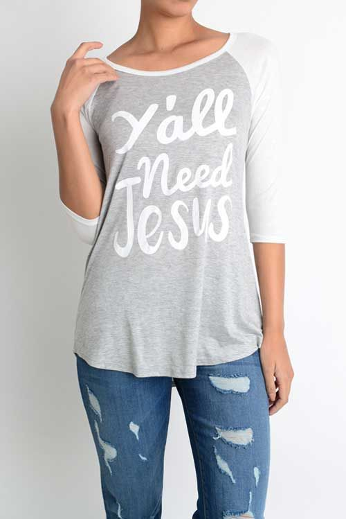 Lovely Souls Y'all Need Jesus Plus Size Baseball Tee for Women