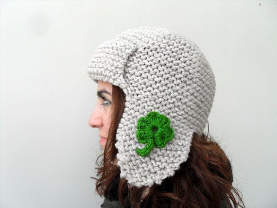 St Patricks Day Gift Pilot Hat for Adults by SmilingKnitting, $32.00