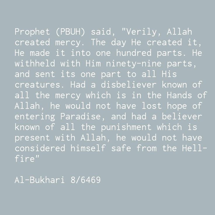 """""""Had a disbeliever known of all the mercy which is in the Hands of Allah, he would not have lost hope of entering Paradise, and had a believer  known of all the punishment which is present with Allah, he would not have considered himself safe from the Hell-fire"""" Al-Bukhari 8/6469"""