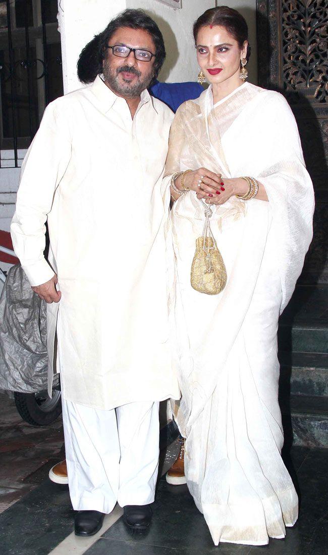 Sanjay Leela Bhansali with Rekha at Sanjay Leela Bhansali's surprise bash.