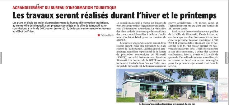 La relocalisation des bureaux de la SOPER n'affectera pas le service du bureau d'information touristique.