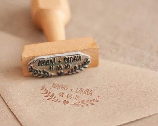 Wedding invitations with custom stamp. #wedding