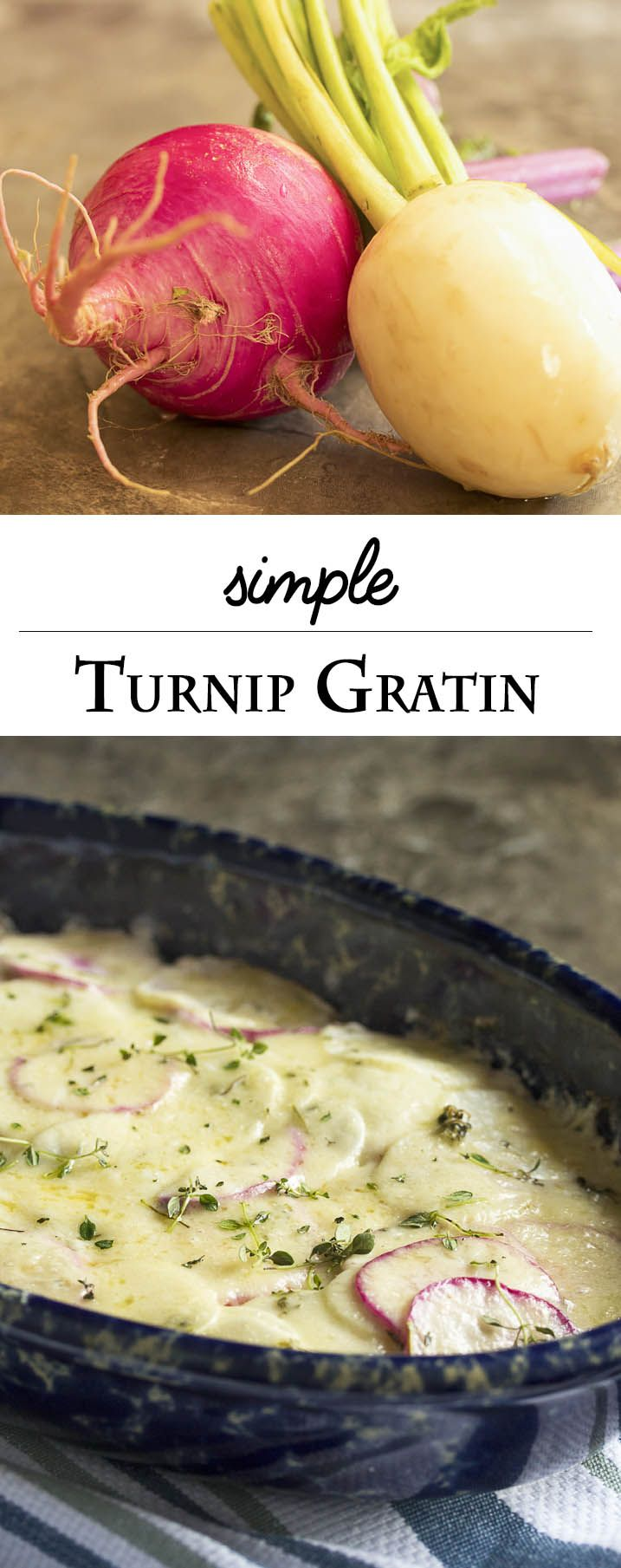 Simple Turnip Gratin - Thinly sliced mild turnips are layered with onion and thyme in this simple gratin, which is finished with a bit of cream and cheese sprinkled over the top just before serving. | justalittlebitofbacon.com