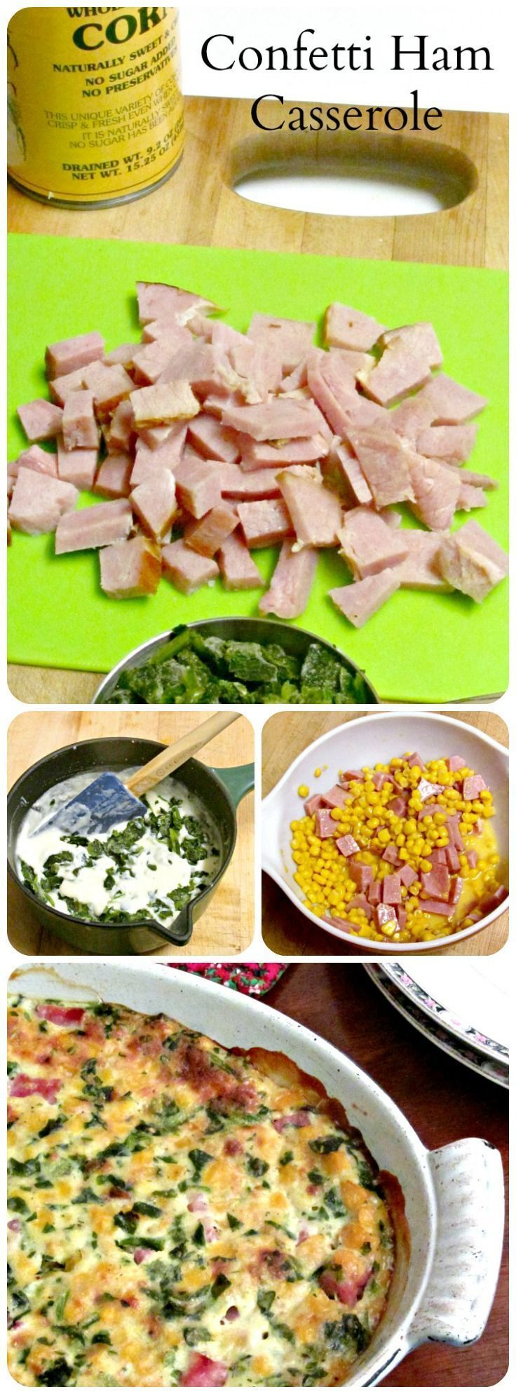 Use leftover ham to make a casserole with corn and spinach. Colorful, plenty of flavor, and a bit of a change. #leftovers #glutenfree #ham #easymeal