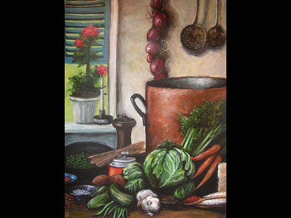 Minestrone Still Life, Original Painting, Kitchen Art, Food Art, Restaurant Art, Soup, Vegetables, Gourmet, Foodie, Copper Pot, Rustic