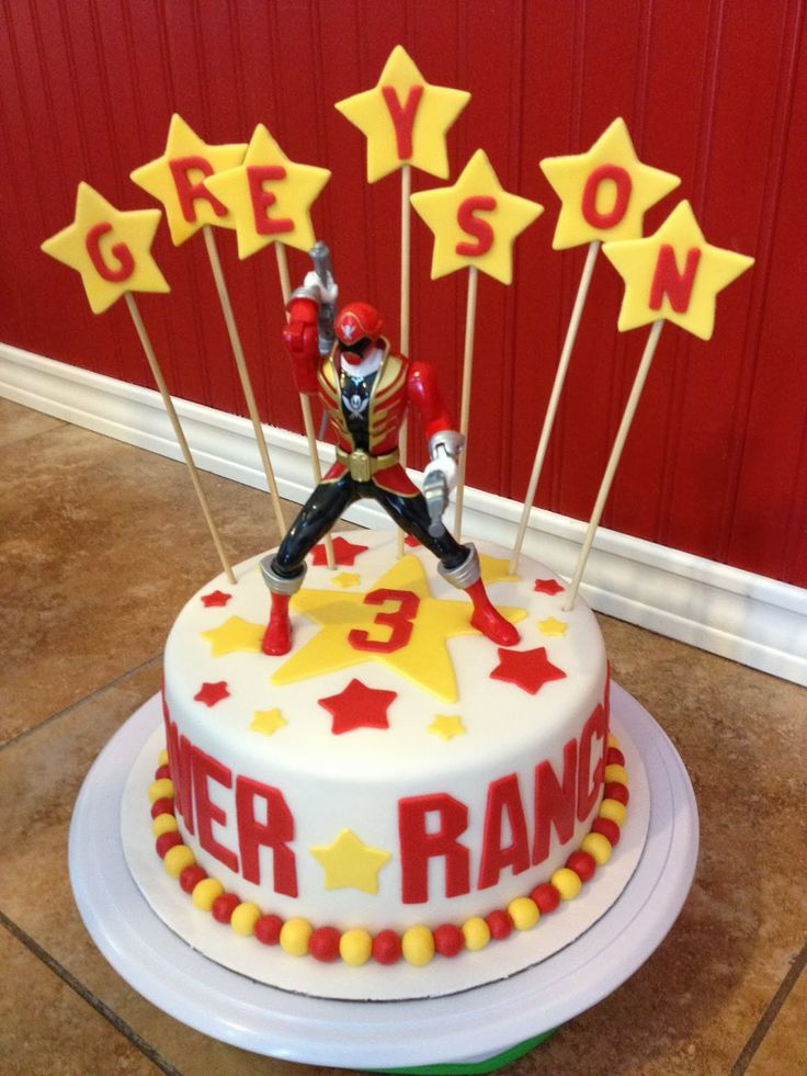 Power Rangers Birthday Cake- get a plain cake and add the Power Ranger and Stars