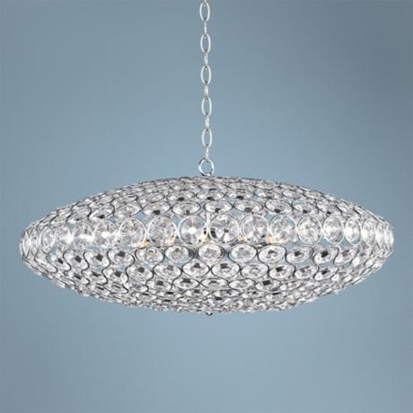 "ET2 Brilliant 34"" Wide 12-Light Oval Crystal Pendant Light"