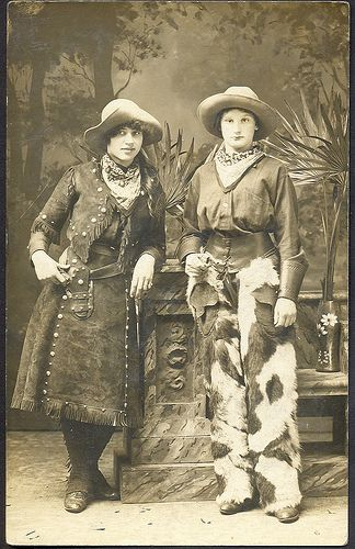 Wild West Cowgirls ready for a fight Guns Drawn Photograph Great Clothes Check out the Chaps on the girl on the right Note Same Neck Scarves Studio Photographer Unknown
