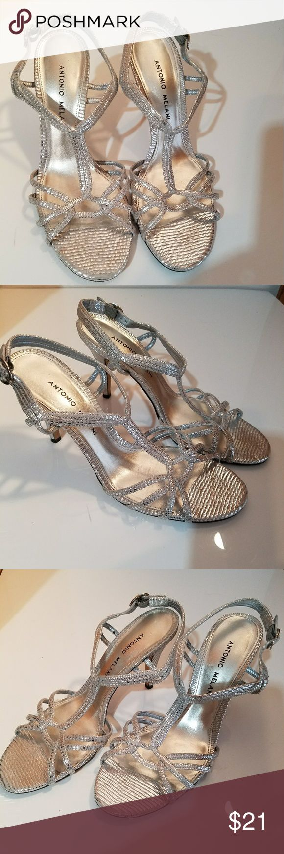 Silver Antonio Melani Sandals Beautiful Silver Antonio Melani Sandals. 4 1/4 inch Heels. Excellent new like Condition. Worn once. No Blemishes. ANTONIO MELANI Shoes Sandals