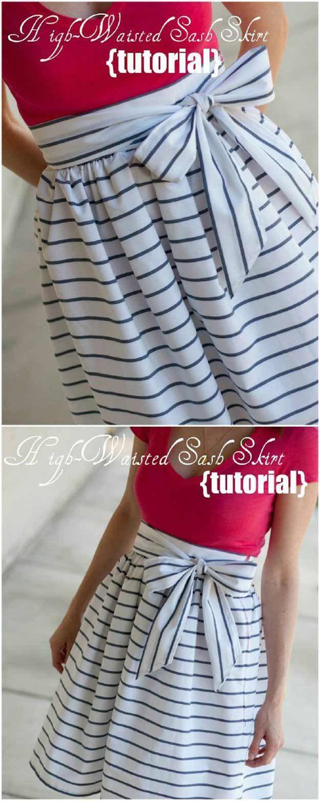 High Waisted Sash Skirt   DIY Skirts and Pants for Women