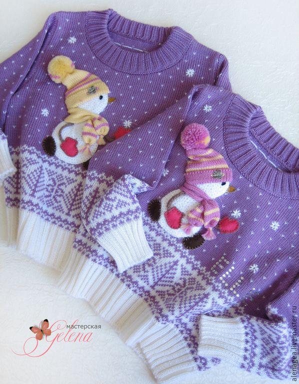 """Купить Джемпер для девочки """"Зимняя снежная сказка"""" - сиреневый, рисунок, джемпер для девочки, нарядный джемпер"""