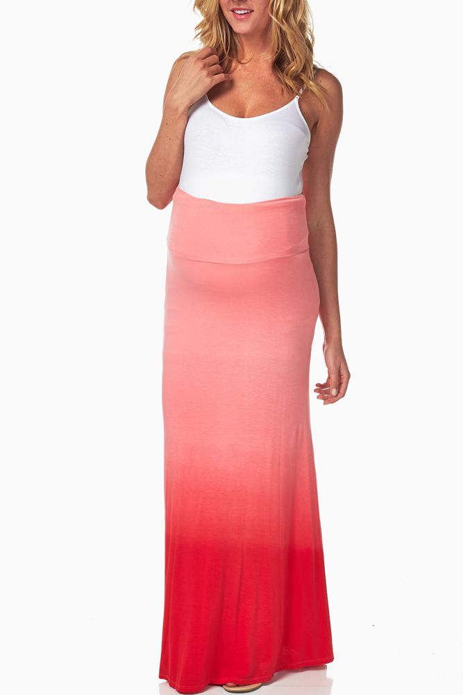 Red-Ombre-Maternity-Maxi-Skirt #maternity #fashion