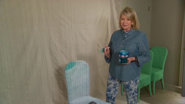 Watch Martha paint her wicker chairs a new color, demonstrating how easy and effective it is to use a paint sprayer instead of a brush.
