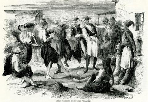 "Greek fishermen dancing the ""Romaika""dance. γκραβούρα εποχής, [1842 – 1885. http://eng.travelogues.gr/"