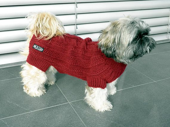 Hand Knit Dog Sweater via Etsy