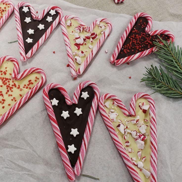 Fina ätbara polkagrishjärtan att dekorera julbordet med.