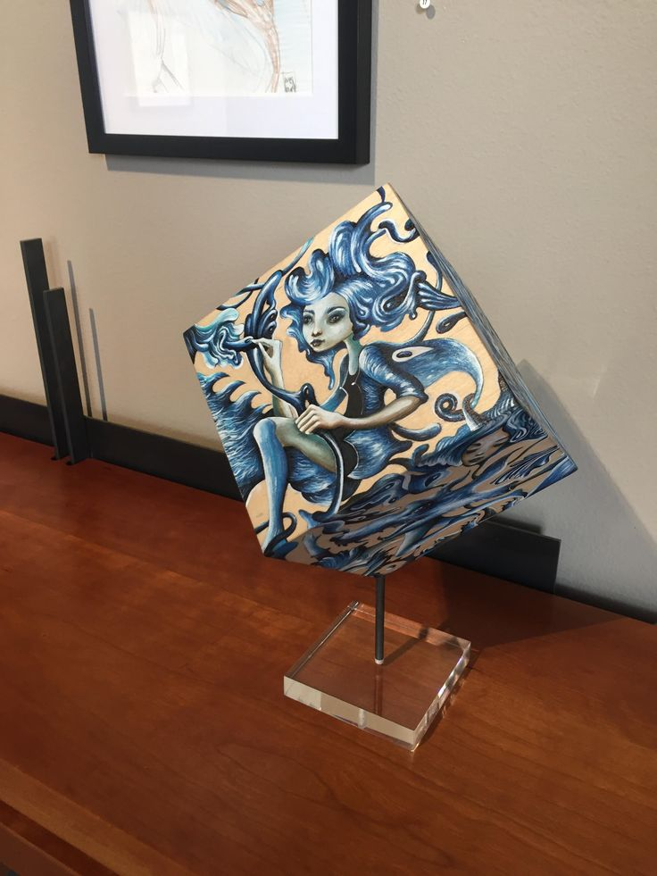 #Original #surrealistic #painted #wooden #cube #sculpture currently on view @bakerhesseldenz  #gallery  #artwork #available #onsalenow