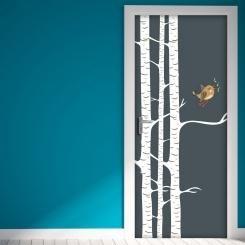 Door Cover Bird on the Tree Uccellino sul Ramo Vinyl Door Sticker Adesivo da Porta