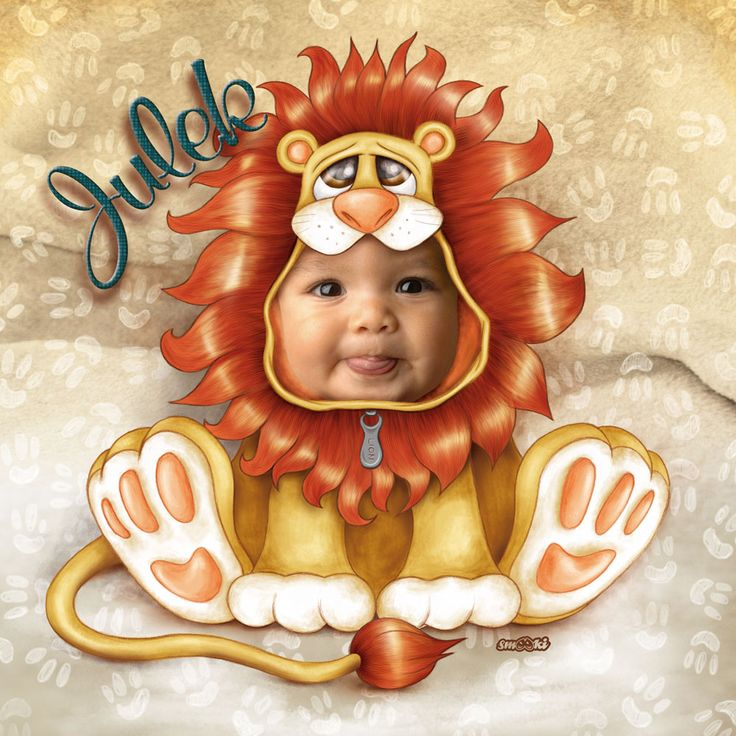 Little lion - personalised print, picture and poster for children - www.smooki.pl