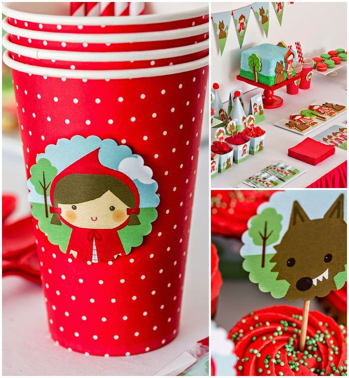 Little Red Riding Hood themed birthday party with Such Cute Ideas via Kara's Party Ideas! full of decorating ideas, desserts, cakes, favors,...