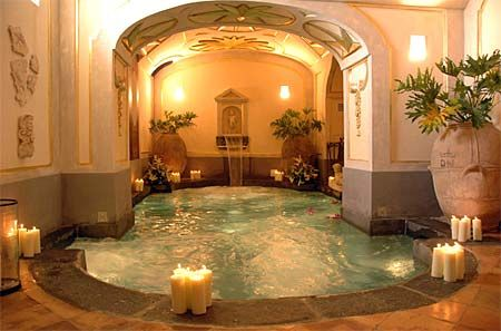 Very cool hot tub room. I would love this if you had a really big house with lots of space...