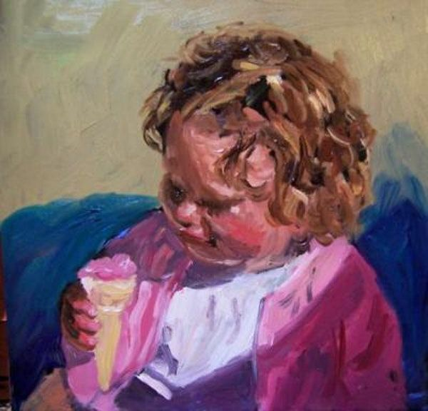 Baby Eating Ice Cream Cone Original Art Painting By Kay