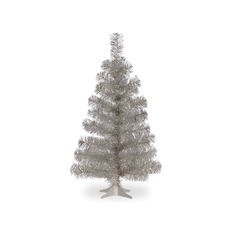 National Tree Company 3-ft. Tinsel Artificial Christmas Tree Floor Decor,  Beig/Green (Beig/Khaki)