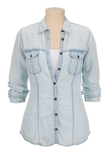 lightweight drape button down denim shirt (original price, $39) available at #Maurices