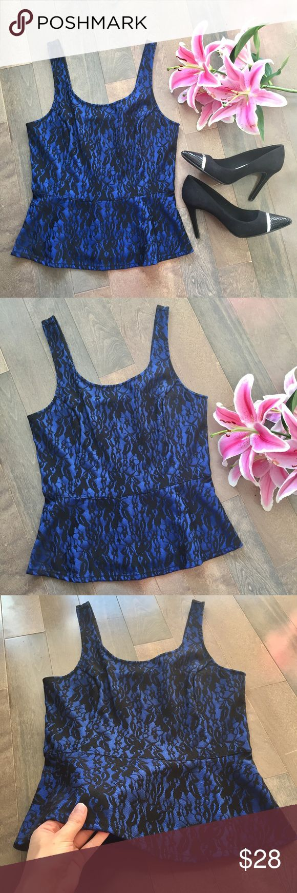 NWT Express Blue Lace Peplum Top! Brand new with tags! Gorgeous blue with black lace peplum top from Express! Zips up the back for the perfect fit. Ideal for work with a blazer or even a night out with skinny jeans! 💕 Size small. Express Tops
