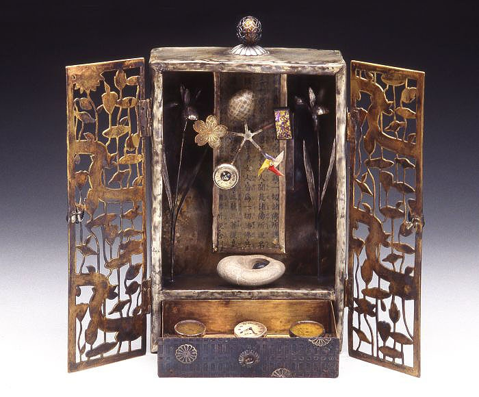 "Mixed Media, Mariko Kusumoto, Artist, Father's Room, (Music Box with Movement ~ Interior), 1996, brass, nickel silver, stones, wax, found objects, closed 9"" x 5 1/4"" x 3"", open 9"" x 10 1/2"" x 2 3/4"", Photo: M. Lee Fatheree"