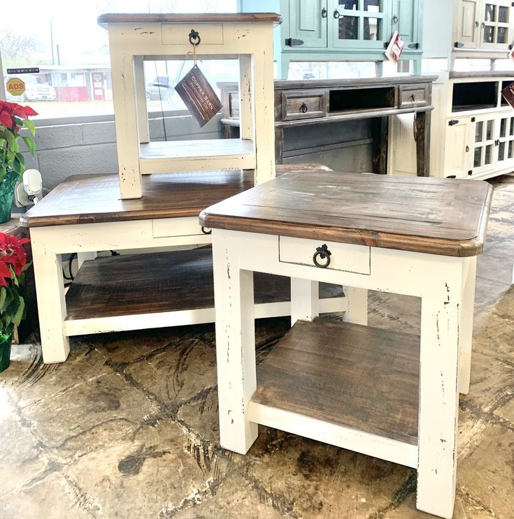 Chloe distressed white 3 piece coffee table set in 2020