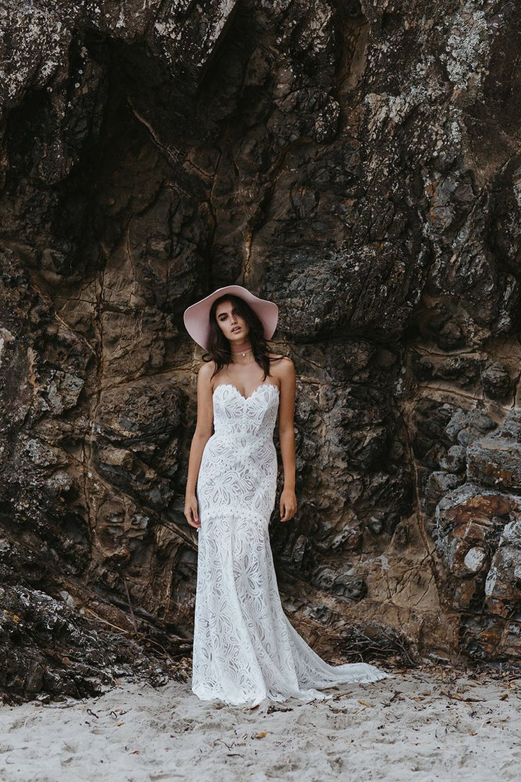 Willow by Lovers Society available at The Bridal Atelier www.thebridalatelier.com.au @thebridalatelier #sheisthebridalatelierbride || Modern bohemian lace fitted wedding dress with Strapless sweetheart neckline and bold lacework.  With Love, TBA xo.