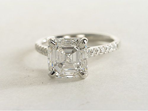 Petite Cathedral Pav 233 Diamond Engagement Ring In Platinum