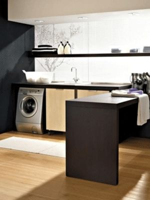 laundry-room-appliances-home-decor -  ooooh maybe the folding table could fold out/up.  Sweet!