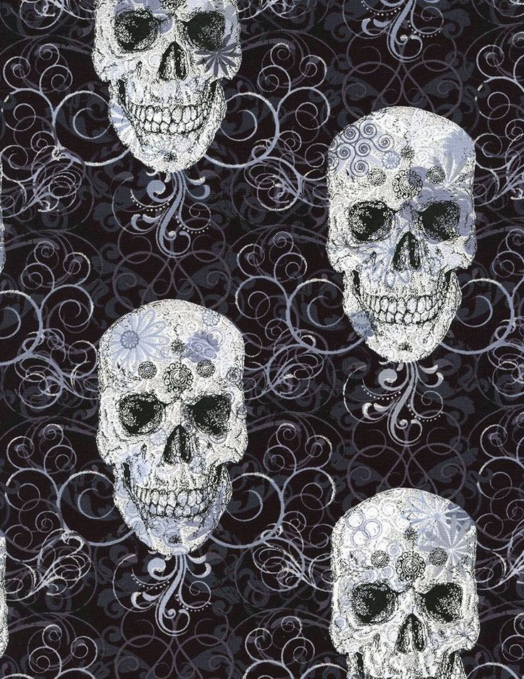 timeless treasures skulls metallic black from designed for timeless treasures this cotton print fabric is perfect for quilting apparel crafts - Halloween Lace Fabric