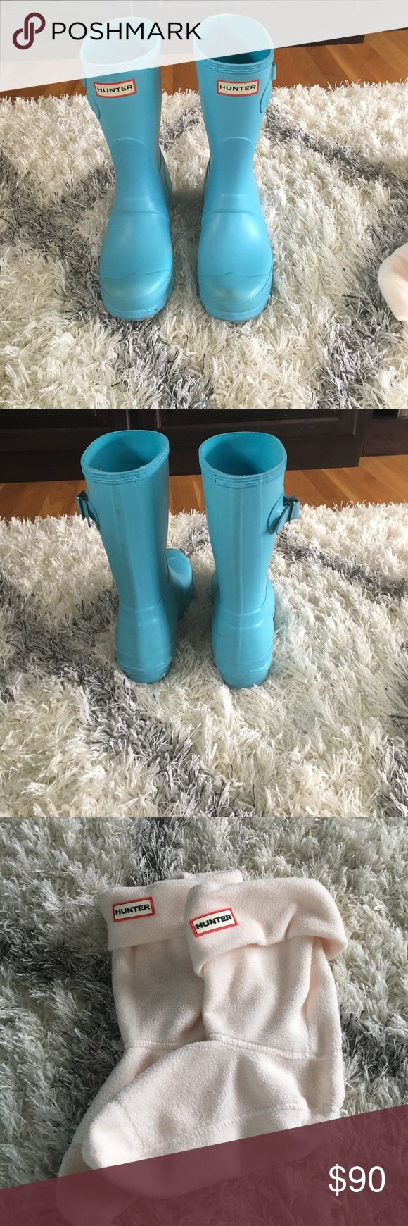 Hunter Boots with FREE Hunter Welly Socks Short Blue Hunter Boots with FREE Hunter Welly Socks! Excellent Condition! Hunter Boots Shoes Winter & Rain Boots
