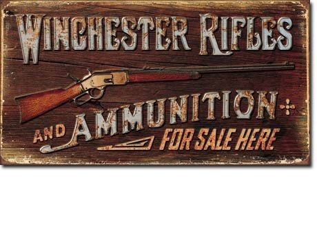 Vintage Style Winchester Rifles And Ammunition by VintageTinSigns