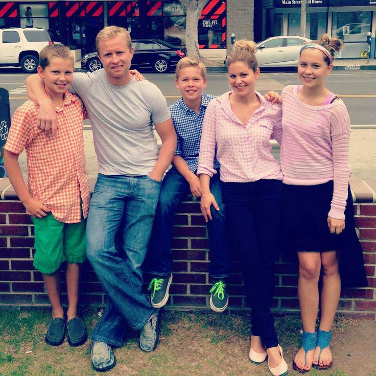 Val Bure and Candice Cameron with their kids son's Maks and Lev and daughter Natasha