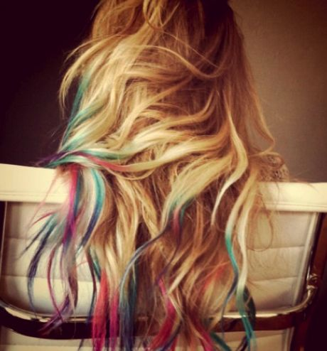 Water color hairRainbows Hair, Colored Tips, Dye Hair, Dips Dyed, Dips Dyes, Hairchalk, Dyes Hair, Hair Chalk, Lauren Conrad
