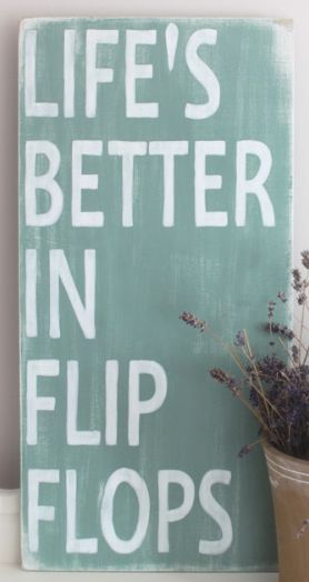 "Wooden Beach Quote Sign ""Life's Better in Flip Flops"" by In Mind 4U at Etsy"